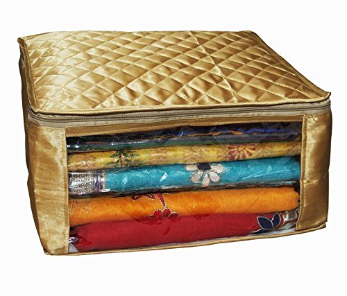 Kuber Industries Saree cover large size in golden satin upto 20 sarees / Wedding Gift