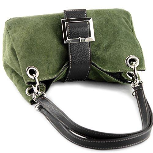 modamoda de - ital. Damentasche Handtasche Tragetasche Henkeltasche Wildleder Klein TL02 Armee-Grün