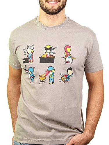 Nebenjob - Herren T-Shirt von Kater Likoli, Gr. M, Light Gray (T-shirt Light Vater)
