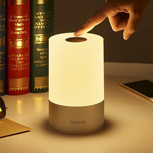 Touch-lampen (Touch Lampe Nachttisch, Homecube Nachttischlampe LED, Tischleuchte, Ambientelicht, Stimmungslicht, Dekoleuchte mit Touch-Funktion, Camping Lampe mit Haken, gratis Karabiner, warmweiß dimmbar, RGB)