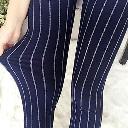 ★★2017 Ularmo® Nouveau Femmes Élasticité Maigre Rayé Pant Élastique Leggings Un Pantalon Tondu ★★ Marine