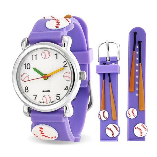 Bling Jewelry Zeit Lehrer 3D Sports Skater Baseball Armbanduhr Für Jugendlich Lila Silikon Armband Weisses Zifferblatt -