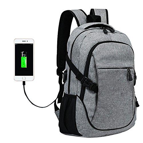 Laptop Rucksack Tasche - Nylon Computer Tasche Schulrucksack Rucksäcke mit USB Ladeanschluss für 15.6 Zoll Laptop und Notebook Grau