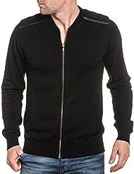 BLZ jeans - Gilet homme noir zippé avec poches