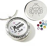 Stigma Medaillonanhänger Beste Mama der Welt - Charm-Medaillon zum individuellen Befüllen - mit Magnetverschluss - inkl. Swarovski Elements 01