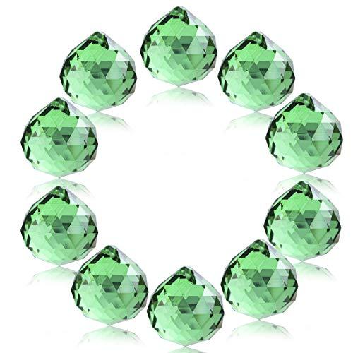 H & D Kristall Glas Kugel 20 mm klar Facettenreich Kronleuchter Prismen Tropfen Anhänger Vollschliff Feng Shui Kristall Ornament Lampe Kerzenhaltern Teile,grün, 10 Stück (Ornamente Kugel Glas)