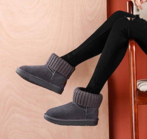 Tt & Xuedixue Bottes De Neige D'hiver / Courtes Gaines D'école / Plus Velours Rembourré Chaussures Femmes / Pied De Coton / Marron / Sable / Pain Gris / Chaussures En Coton
