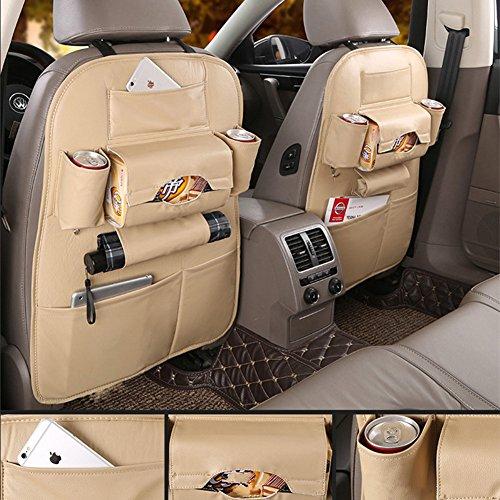 Auto Rückenlehnenschutz, Wasserdicht Rückenlehnenschutz für Auto,Auto Rücksitz Organizer (beige)