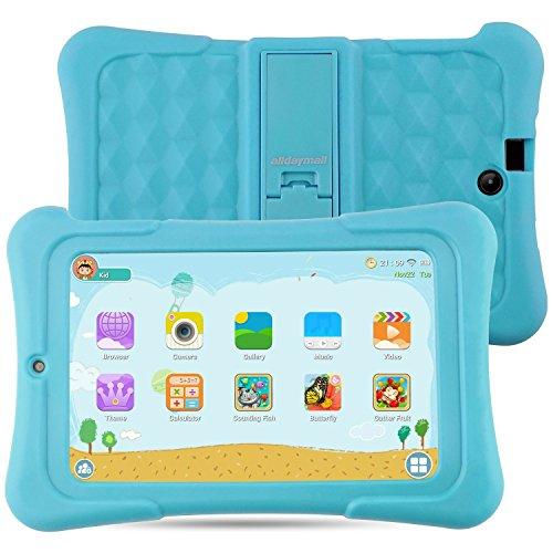 Alldaymall Tablet Infantil de 7 pulgadas 16GB IPS FHD1920x1200 (64-Bit Quad Core, Android 5.1, Wi-Fi, Bluetooth) Azul con funda de silicona 2017 Nuevo