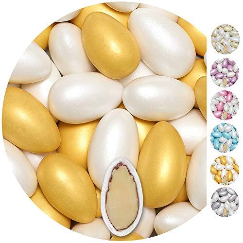 EinsSein 1kg Hochzeitsmandeln Conchiglia Mix weiss-gold metalic matt Mandeln Hochzeit Zuckermandeln Bonboniere Confetti Badem sekeri Gastgeschenk Zucker Mandeln Taufmandeln Candy Bar Süssigkeiten