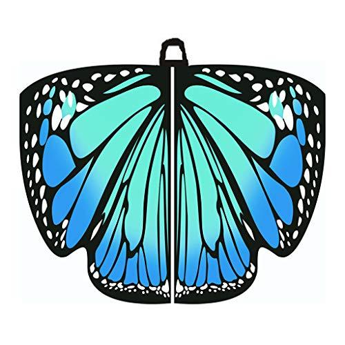 Ucoolcc Damen Neuheit Feenhafte Nymphe Pixie Halloween Cosplay Karneval Zubehör Weihnachten Cosplay Kostüm Zusatz, Gedruckted Weiche Gewebe Schmetterlings Flügel Butterfly Cape Schal 168 * 135CM -