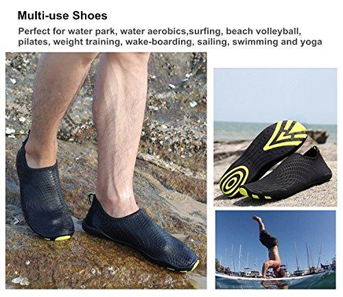 Uomo Donna Scarpe da Spiaggia Aqua Calzini Water Scarpe per Immersione Nuotare Spiaggia Surf Yoga Sport 2.Nero