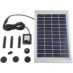 Mvpower Bomba de agua de Energía Solar para Piscina Jardín Fuentes 5W 500L / H Altura 200cm