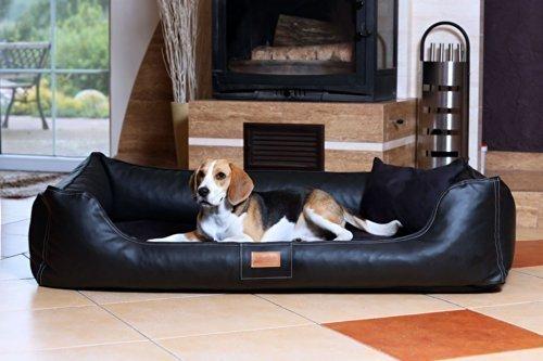 tierlando Maddox Komfort Hundebett Hundesofa Kunstleder S - XXL: Größe: MN5-LL 120cm   Farbe: 03 Schwarz