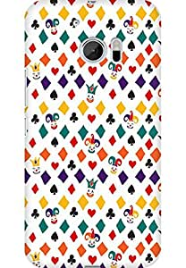 AMEZ designer printed 3d premium high quality back case cover for HTC One M10 (Colourful Poker Pattern)