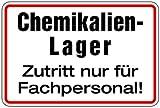 Aufkleber Chemikalien-Lager Zutritt nur für Fachpersonal! 200x300mm