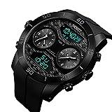 Herren Armbanduhr 98 ft Wasserbeständig Analoge Digitale Uhr Militär EL-Licht Datum Multifunktions-Uhr