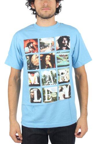 Bob Marley - Herren-Block Images T-Shirt In Blue Blau - Blau