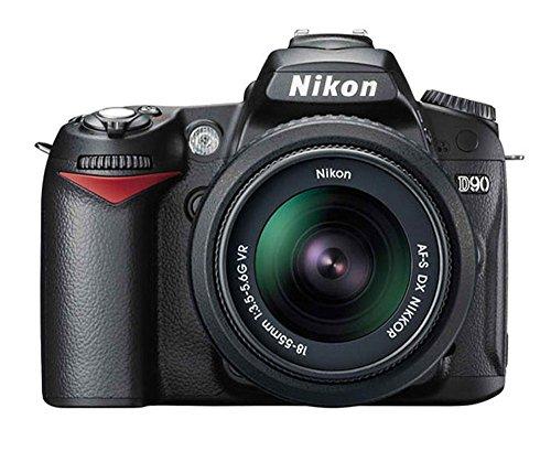 Nikon D90+ AF-S DX NIKKOR 18-55mm f/3.5-5.6G VR + 4GB SD Jeu de caméra SLR 12.3MP CMOS 4288x 2848pixels Noir-Appareil photo numérique (12,3MP, 4288x 2848pixels, CMOS, HD, 620g, noir)