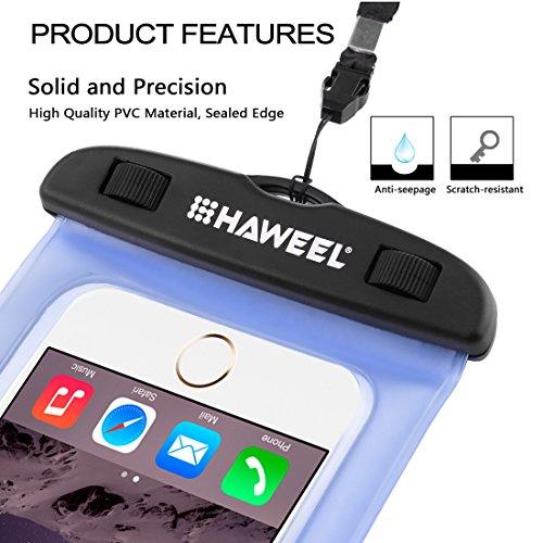 Wasserdichtes Case, HAWEEL ® transparenter Universal Wasserdichte Tasche mit Lanyard für das iPhone 6 & 6 Plus / 6 s & 6 s Plus, Samsung Galaxy S6 / S5 / Note 5, Rosa Blue