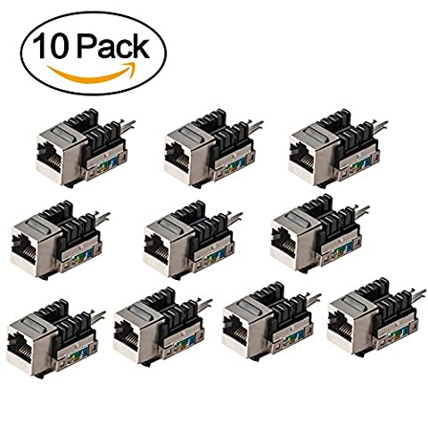 RJ45 Couplers, MACTIS 10-pack Snap-in CAT6 Keystone