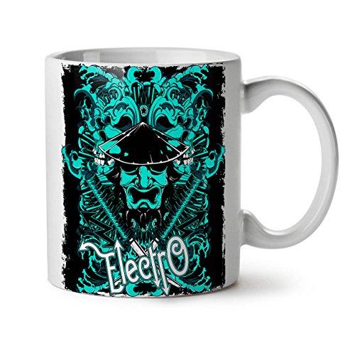 Musik Kostüm Meister - Wellcoda Electro Samurai Musik Keramiktasse, Musik - 11 oz Tasse - Großer, Easy-Grip-Griff, Zwei-seitiger Druck, Ideal für Kaffee- und Teetrinker