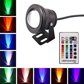 SUNGETACE 10W LED Spot étanche RGB Multicolore IR Rmote AC DC 12 V 24 V 16 Couleurs plume à bassin d'extérieur étanche