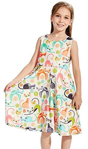 Funnycokid Mädchen Cartoon Tier Kleid Schöne Tier Muster Ärmelloses Kleid Alter ()
