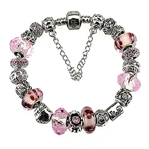Silver Plated Charm Bracelets with Charms for Pandora for Teen Girls Christmas Jewellery Birthday Gifts Ideas Pink Flower Birthstone October 18 cm