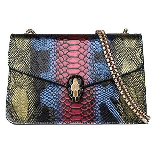 Damen Tasche Europäische und amerikanische Mode Kontrast Farbe Schlangenmuster Damen Schulter Tasche (Blau, 21 * 13 * 24cm)