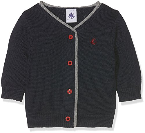 Petit Bateau Baby-Jungen Strickjacke Cardigan, Blau (Smoking 84), 80 (Herstellergröße: 12m/74cm) - Petite V-ausschnitt Strickjacke