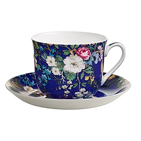Maxwell & Williams Kilburn Breakfast Cup and Saucer Floral Muse Gift Box, Porcelain, WK09300 by Maxwell Williams