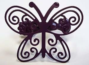 Pince métal papillon Violet 305083