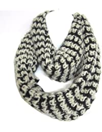 Mix Thread Braided 2-Tone Soft Woven Infinity Loop Figure Eight Scarf