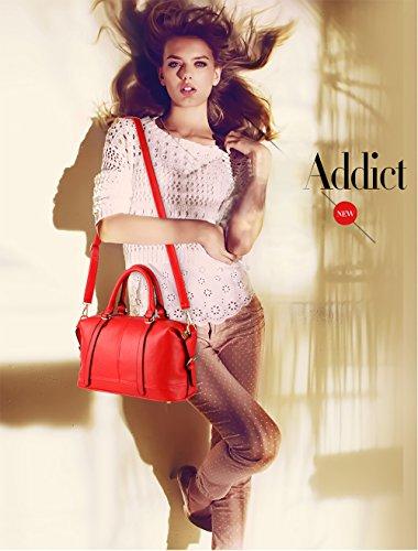 Nicole&Doris borse di modo casuale -retro- borsa tracolla Messenger Bag donna(Purple) rosso