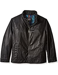 Dockers Men's Big Lamb Touch Faux Leather Stand Collar Jacket
