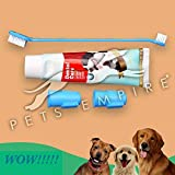 Pets Empire Dog Teeth Cleaning Set Toothpaste for Dogs Best Dog Toothbrush Set Includes 2 Puppy Finger Toothbrushes and Dual-Headed Toothbrush for Large and Small Dogs