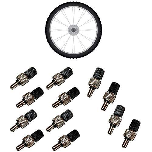 all-around24 8 Stück Fahrrad Ventile Set Adapter Fahrradventil + Muttern + Ventilkappen Blitzventil Dunlopventil