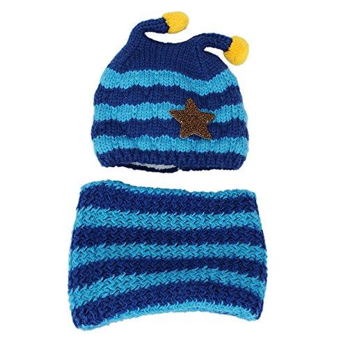 Alxcio Baby Hüte + Schal Set Sternenmuster Winter Strickmützen Gehäkelt Mütze Hut Schals für Jungen Mädchen Kinder Kleinkinder, Blau