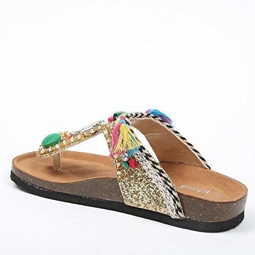 Ideal-Shoes Nu-piedi decorato con paillette e gioielli, strass e fantasie Tammy Oro (Oro)