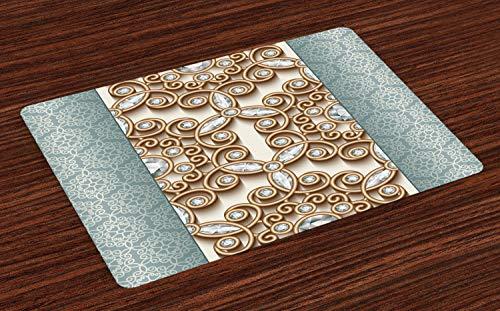 ABAKUHAUS Diamant Platzmatten, Vintage wirbelnde Linien Ornament mit Diamanten über Damast Retro-Stil Boho Print, Tiscjdeco aus Farbfesten Stoff für das Esszimmer und Küch, Teal Tan