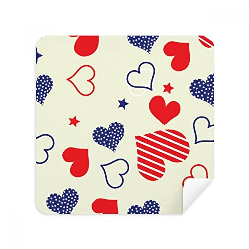 DIYthinker Red Blue Heart-Shaped Glasses Amerika Pentareinigungstuch Phone Screen Cleaner Suede Fabric 2Pcs