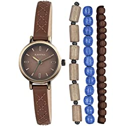 Kahuna Women's Quartz Watch with Brown Dial Analogue Display and Brown Leather Strap KLS-0236LSTK