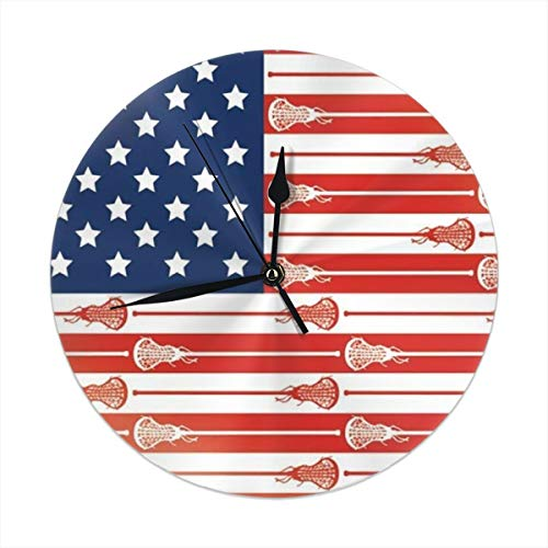 best gift USA Lacrosse Sticks Flag Round Wall Clock for Home,Office,School Decorative Battery Operated 9.84 Inch (Lacrosse-batterie)