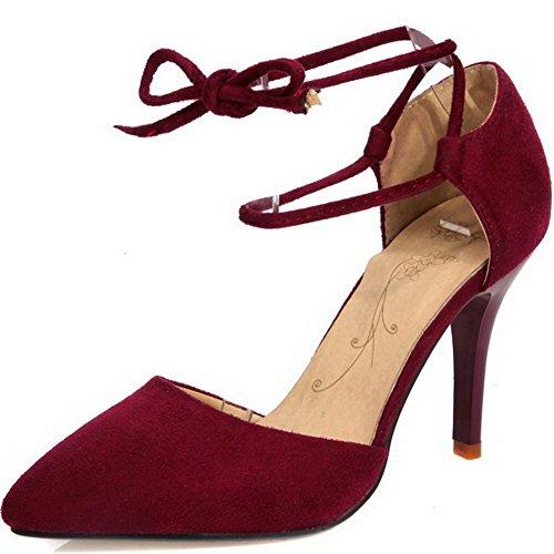 VogueZone009 Femme Lacet Suédé Pointu à Talon Haut Couleur Unie Chaussures Légeres Rouge