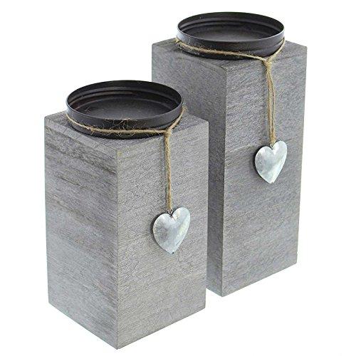 SIDCO Kerzenhalter Säule 2 Stück Kerzenständer Deko Kerzenhalter Holz Silber Windlicht