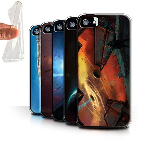 Offiziell Chris Cold Hülle / Gel TPU Case für Apple iPhone SE / Pack 6pcs Muster / Galaktische Welt Kollektion Pack 6pcs