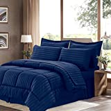 Queen , Navy : Sweet Home Collection 8 Piece Bed In A Bag with Dobby Stripe Comforter, Sheet Set, Bed Skirt, and Sham Set - Queen - Navy