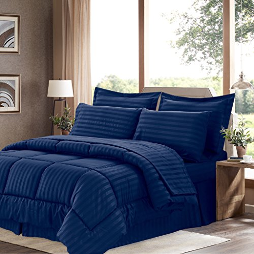 Sweet Home Collection 8 Piece Bed In A Bag with Dobby Stripe Comforter, Sheet Set, Bed Skirt, and Sham Set - Queen - Navy -
