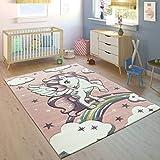 Paco Home Tappeto per Bambini Arcobaleno Unicorno Pastello Rosa, Dimensione:80x150 cm